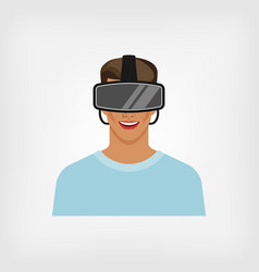 Man in glasses virtual reality vector