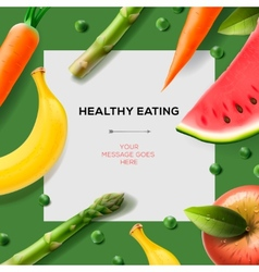 Healthy eating template with fruits and vegetables vector image