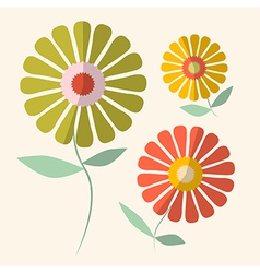 Retro of gerbera flowers vector