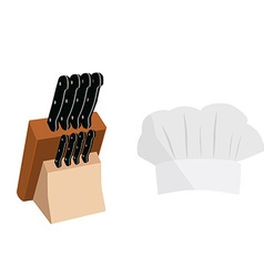 Knife holder and cook hat vector