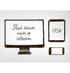 Hand drawn doodle electronic devices mockup set vector