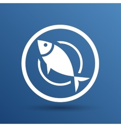 Fish menu icon logo seafood fork tuna vector