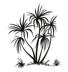 Palm trees and grass silhouettes vector