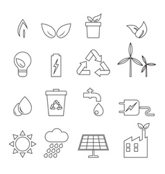 Eco line icons vector