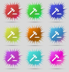 Judge hammer icon nine original needle buttons vector