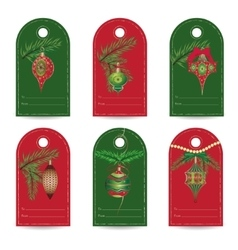 Set of vintage christmas gift tags vector