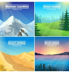 Camping landscapes 4 flat icons square vector