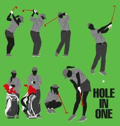Golf collection hole in one vector