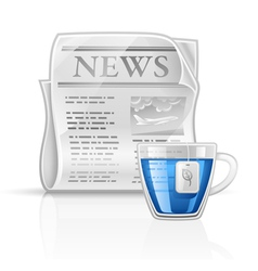 Newspaper with cup of tea vector