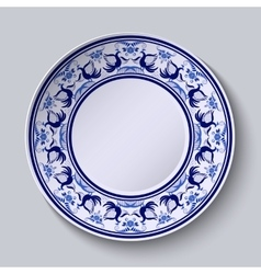 Plate with pattern in gzhel style of painting on vector