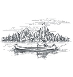 Native american in canoe boat vector image
