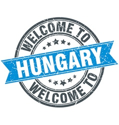 Welcome to hungary blue round vintage stamp vector
