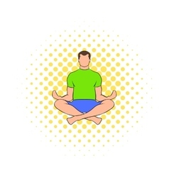 Man sitting in lotus posture icon comics style vector