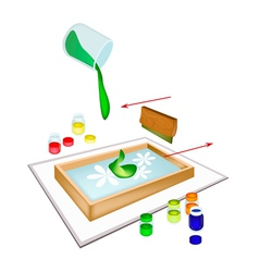 A squeegee screen printing on a tile vector