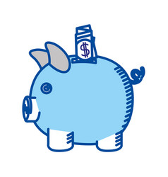 Blue contour of moneybox in shape of pig with vector