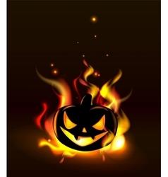 Burning halloween lantern vector