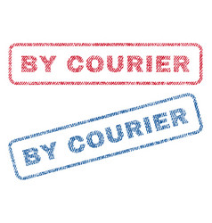By courier textile stamps vector