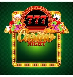 Casino background with cards chips craps vector image