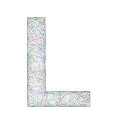 Colorful sketch font design - letter L vector image
