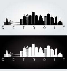 Detroit usa skyline and landmarks silhouette vector