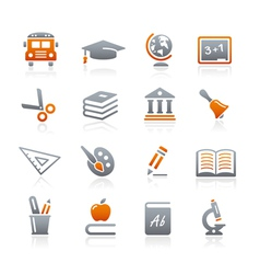 Education Icons Graphite Series vector image vector image