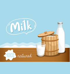 farmers market banner with dairy products vector image