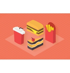 Fast food 3d isometric flat set vector image