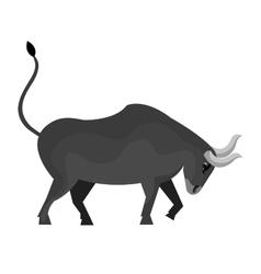 Gray bull angry cartoon isolated on white vector