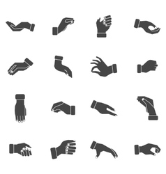 Hand palms grabbing black icons set vector