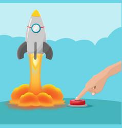 Hand push button start rocket vector