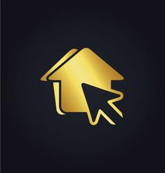House pointer arrow gold logo vector