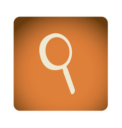 Orange emblem magnifying glass icon vector