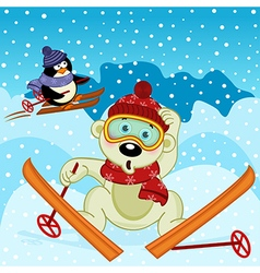 polar bear and penguin skiing vector image
