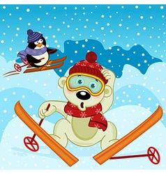Polar bear and penguin skiing vector