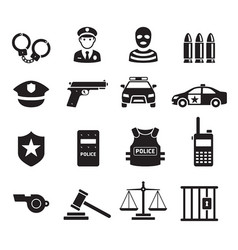 police icons vector image vector image