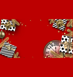 red 2018 background with gifts and clock vector image vector image