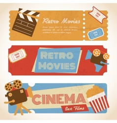 Retro movie banners vector