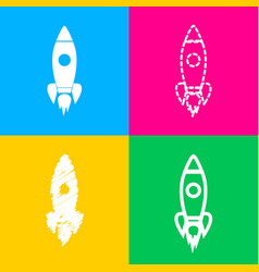 rocket sign four styles of icon on vector image vector image