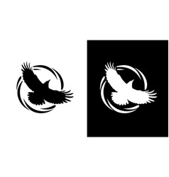Round logos with raven in black and white vector