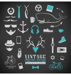 Set of hipster vintage retro chalk label and icon vector