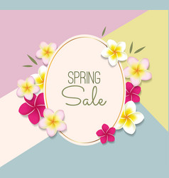 Spring sale with flowers vector