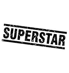 Square grunge black superstar stamp vector