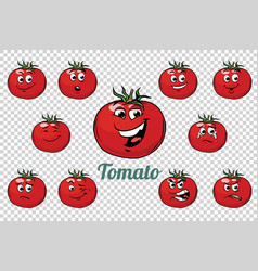 tomato emotions characters collection set vector image