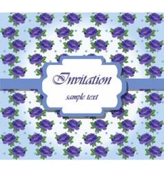 Vintage card with watercolor blue roses vector