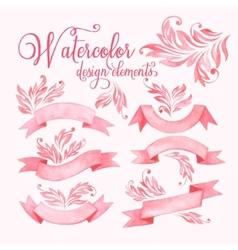 Watercolor ribbons set vector