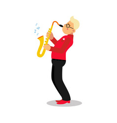 Young man playing sax cartoon character saxophone vector