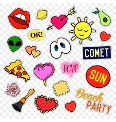 Fashion patch badges pop art set stickers pins vector
