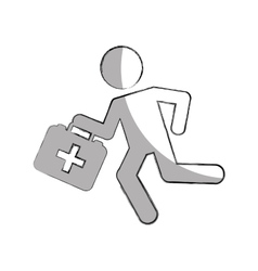 Paramedic running with medical kit vector
