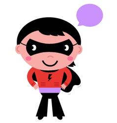 Cute superhero boy with speech bubble vector