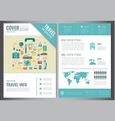 Travel brochure design template for travel and vector
